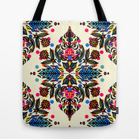 Bright Folk Art Pattern - hot pink, orange, blue & green Tote Bag by micklyn