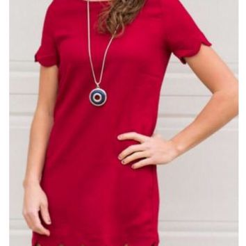 Lauren Red Scallop Dress