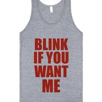 C - Blink if you want me-Unisex Athletic Grey Tank