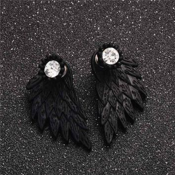 Black Gothic Angel Wings Feather Stud Earrings