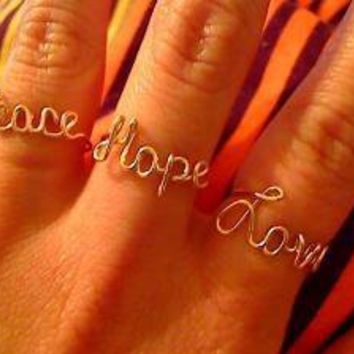 Gold Peace Love and Hope Rings LePooke's Special by WireNameMike