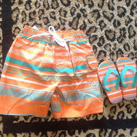 Toddler Boys Orange Flip Flops