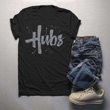 Men's Hubs T-Shirt Husband Shirt Wedding Groom Matching Couple's Tee Retro Grunge