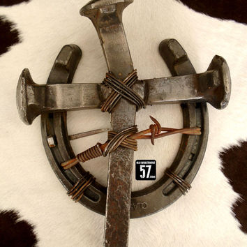 Railroad Spike Horseshoe Cross Metal Cross Railroad Spike Art Rustic Metal Art Metal Crosses Horseshoe Art Rustic Horseshoe Decor RSC-035