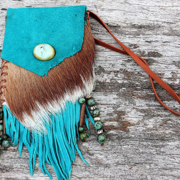 Turquoise Goat Leather Medicine Bag, African Springbok Real Fur and Turquoise Stone Beads, Fringed Shaman Pouch Necklace