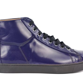 Gianvito Rossi Purple Patent Leather Lace Up High Top Sneakers