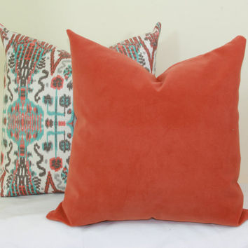 Coral velvet pillow cover 16x16 18x18 20x20 22x22 24x24 26x26 28x28 Coral euro sham Orange Lumbar pillow 12x20 12x24 14x26 16x24 16x26