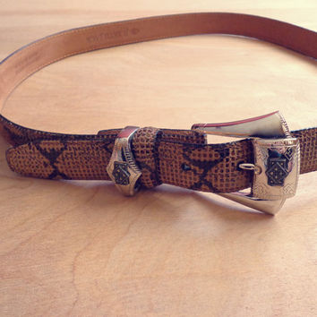 Vintage Southwestern Suede Belt with Silver Buckle