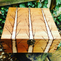 XL wooden box tree design, gifts for him, gifts for men,mans box, keepsake box, woodland gift, storage box, mens accessories