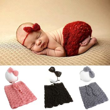 Newborn Baby Mohair Crochet Outfits Headband Bow + Pants