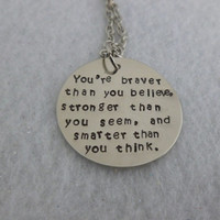Personalized Necklace Hand Stamped Jewelry - Braver, Stronger, Smarter