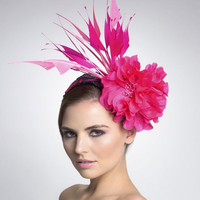 Hot Pink fascinator- Headpiece