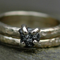 Engagement and Wedding Ring Set- Black Prong-Set Rough Diamond in Recycled 14k White or Yellow Gold
