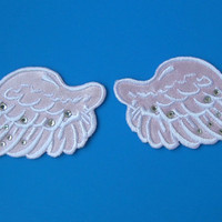 2 pcs iron-on Embroidered Patch Angel Wings w/ shining rhinestuds 2.75 inch