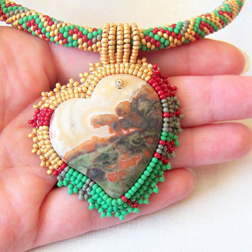 Beadwork Bead Embroidery Pendant Necklace with Multi Color Spiderweb Agate - DREAMING a Dream - Geometric - Spring Fashion