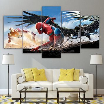 Spiderman Homecoming 5 Panel Wall Art on Canvas Panel Print Poster Framed UNfram
