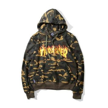 DCCKNY1Q Boys & Men Thrasher Camouflage Print Top Sweater Pullover Hoodie