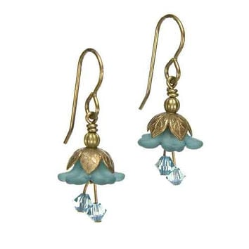 Fairy Flower Earrings in Vintage Natural Brass with Teal Swarovski Crystals