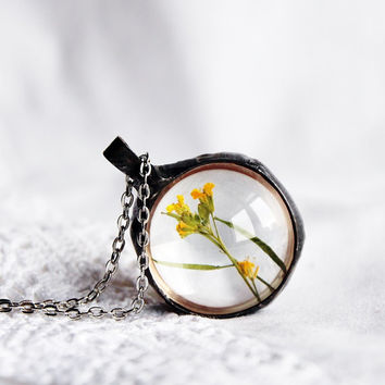 Real flower pendant, sphere ball terrarium, Flower mustard, mustard seed, botanical necklace, plant jewelry, dried flowers, Faith and Change