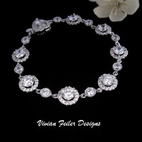 Bridal Bracelet Wedding Jewelry Sparkly Diamonds CZ - Vivian Feiler Designs | Wedding Jewelry |