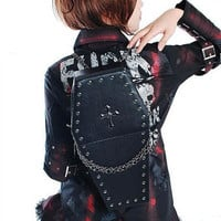 Black Studded Gothic Goth Fashion Cross Body Coffin Bags Backpacks SKU-11408026