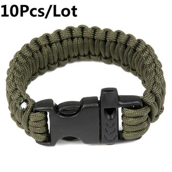 US Military Army Utility Tactical Airsoft Hunting Camping Hiking Paracord Whistle Lifesaving Bracelet Braided Rope Wrist Band