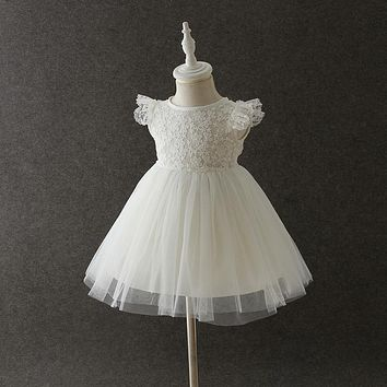 Summer Baby Princes Fashion Wedding Birthday Party Tutu Dresses With Hat Cute Kids Flower Chiffon Lace Sleeveless dress clothes