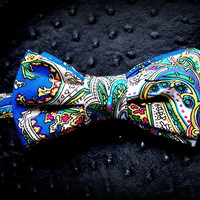 Muticolored blue green white red yellow upcycled vintage fabric unique mens bow tie