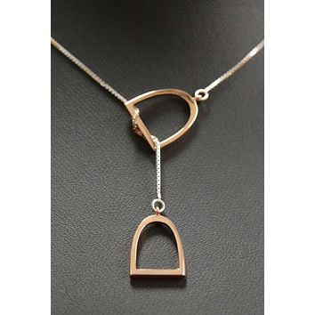 """The """"Annmarie"""" Lariat In Stainless Steel with 14kt Plated Rose Gold Stirrup."""