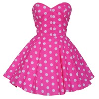 Pin-Up Pink Polka Dot Prom Party Dress | Style Icon`s Closet
