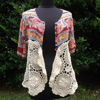 Boho Gypsy Cardigan reconstructed shabby romantic upcycled crochet