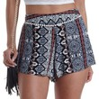 Black Multi Tile Print High-Waisted Shorts by Charlotte Russe