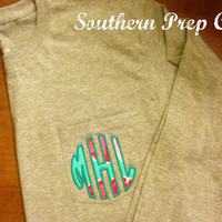 Circle Applique' Monogrammed Ladies LONG SLEEVE Pocket Tee