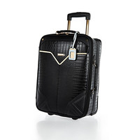 River Island Womens Black mock croc wheelie suitcase