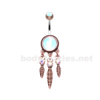 Bronze Antique Legend Dreamcatcher Belly Button Ring 14ga Navel Ring