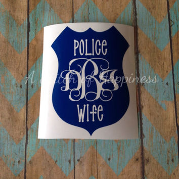 Police Wife Decal - Monogram Car Decal - Police Girlfriend Monogram Decal - Police Wife Monogram Car Decal