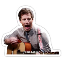 'Jake Peralta screaming with guitar' Sticker by ellalucy