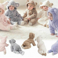 Newborn Baby Infant Boy Girl Romper Hooded Jumpsuit Bodysuit Outfits Clothes HU