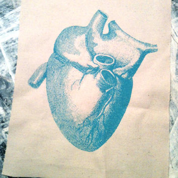 glow blue HUMAN HEART Canvas Patch