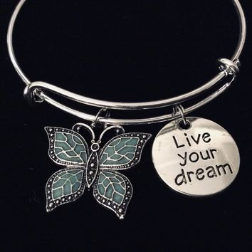 Live Your Dream Expandable Charm Bracelet Butterfly Jewelry Adjustable Silver Bangle One Size Fits All Gift Teal Butterfly