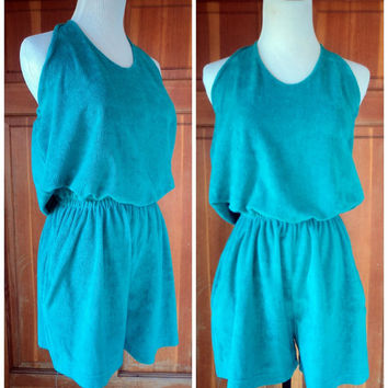 Vintage 70s Romper Terry Cloth Halter Playsuit Elastic Waist Beach Terrycloth Cover up Beachwear Summer Halter M 36 B
