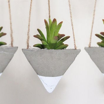 Succulent Planter, Concrete Planter, Hanging Planter, Geometric Planter, Modern Planter, Air Plant Holder, White Planter - Set of 3
