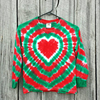 Girls Toddler Christmas Tie Dye Long Sleeve Shirt, Available Sizes S M L XL, Red and Green Heart Tie Dye, Holiday Shirt