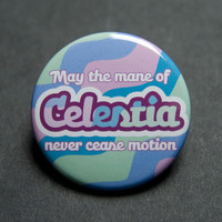 Celestia's mane button badge for brony / pegasister