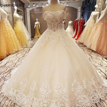 LS85250 champagne lace wedding dress ball gown lace up back short sleeves off the shoulder wedding gown dresses real photos
