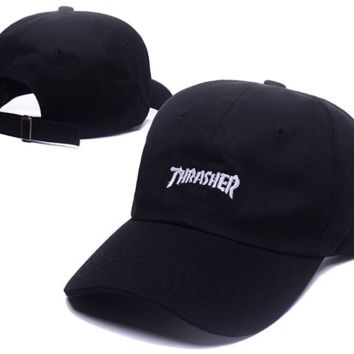 Fashion Black Thrasher Embroidery Sports Baseball Cap Hats