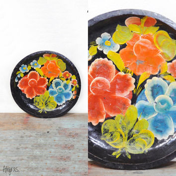 FLORAL Wooden Plate // Hand Painted// Folk Art Vintage //Tole Tray Plate Bowl // Mexican Bate // 1960s