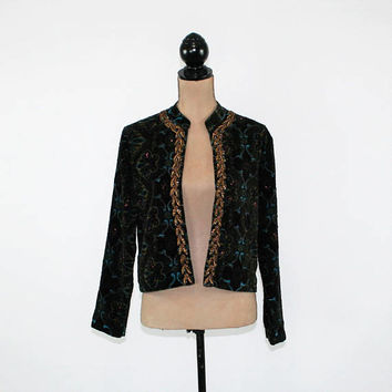 Velvet Jacket Women Small Beaded Jacket Black Bohemian Gypsy Boho Open Jacket Chicos Vintage Clothing Womens Clothing