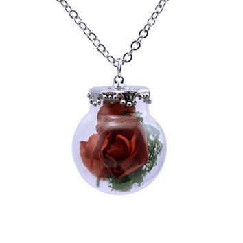 Houbian 2017 New Lovely Red Rose Glass Ball Necklace Dried Flowers Glass Ball Pendant  Handmade Necklace Female Jewelry 7Colors