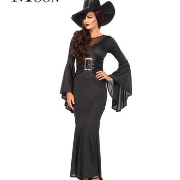 MOONIGHT Halloween Adult Long Dress Cosplay Clothing Black Carnival Gothic Witch Costume